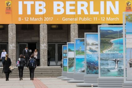 Visitors arriving at steps of North Entrance of Messe Berlin for ITB Berlin 2017.